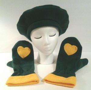 Tam Mittens Hunter Green Gold by Have Heart Daily